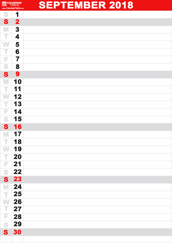 September Calendar 2018 Vertical days