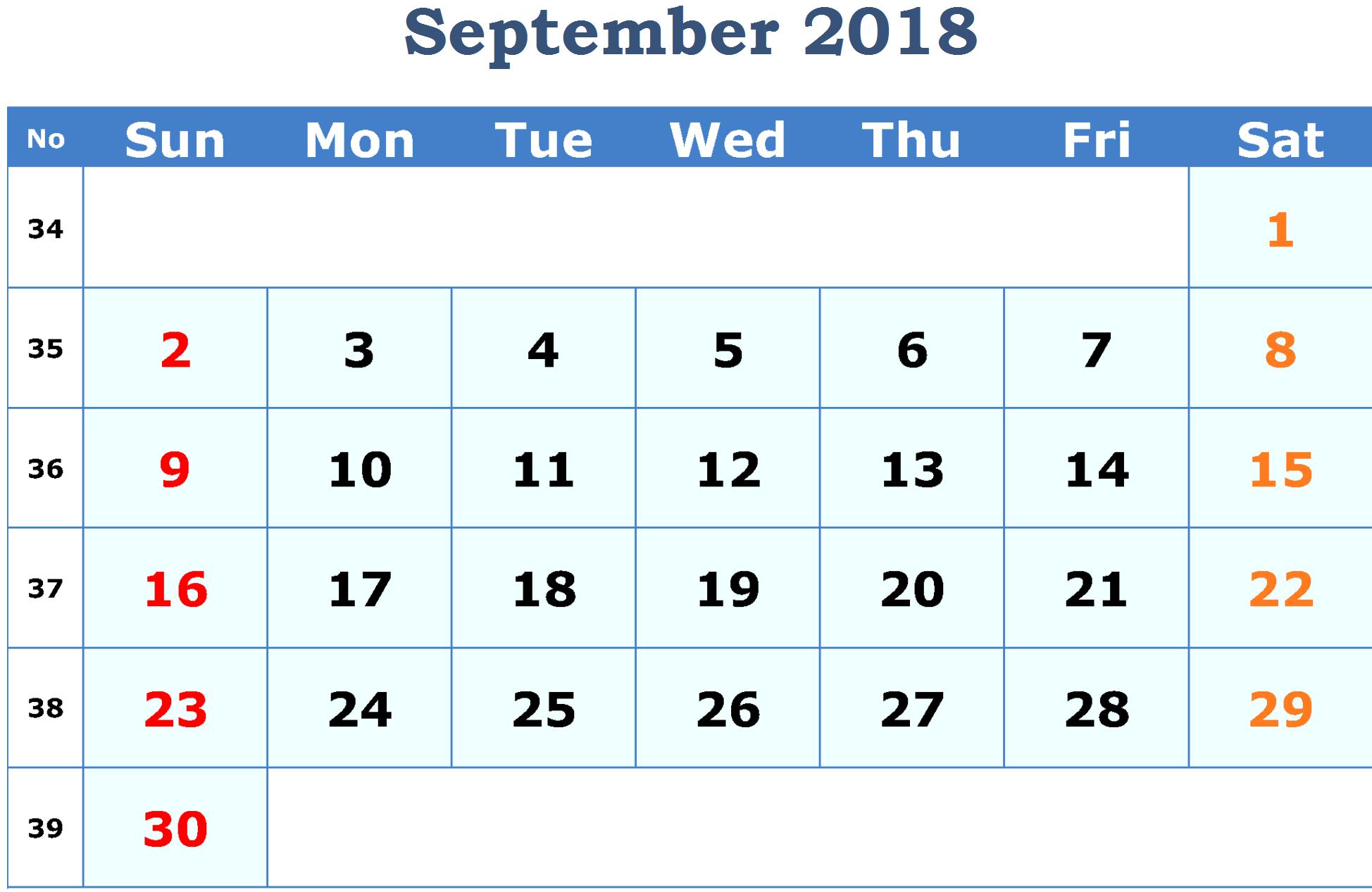 September Landscape Calendar