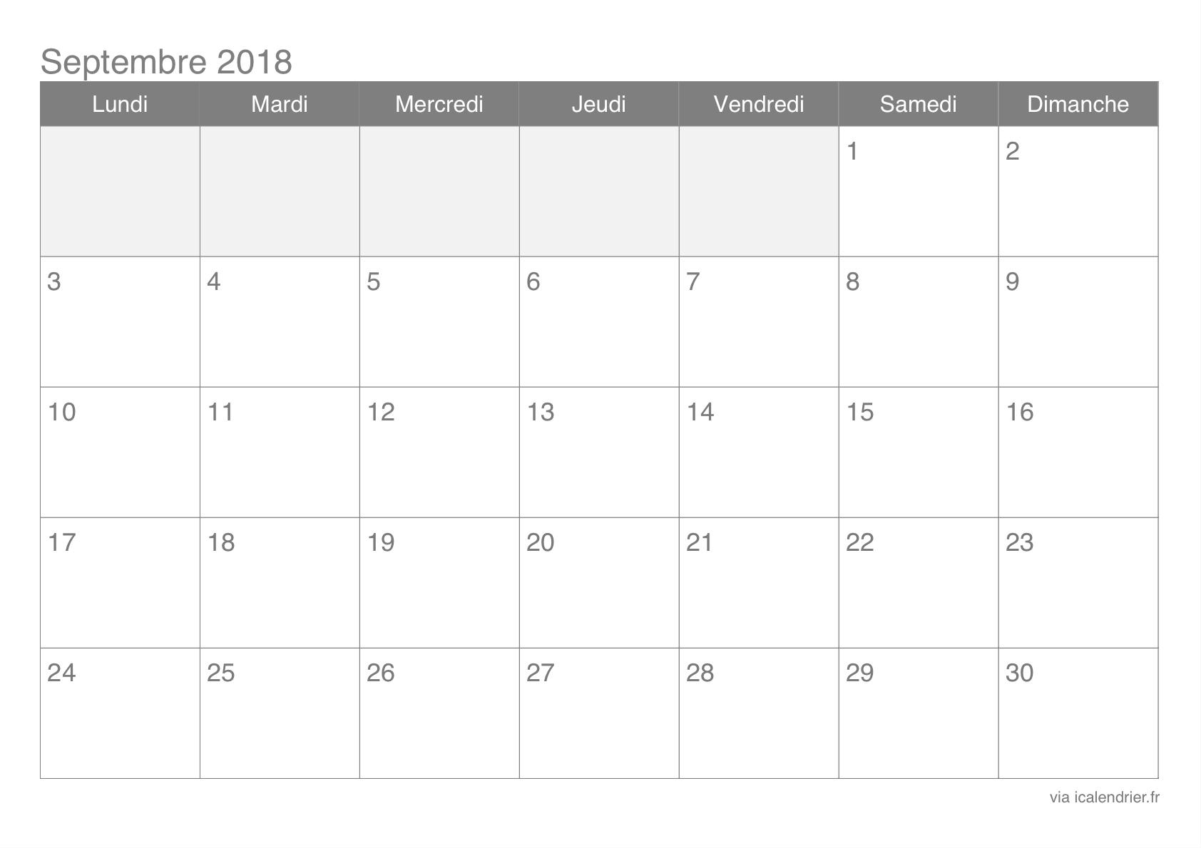 Septembre 2018 Calendrier Imprimable