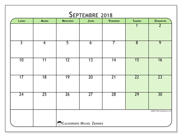 Septembre Calendrier 2018