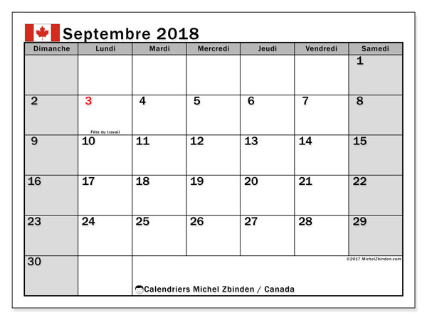 septembre 2018 imprimable calendrier