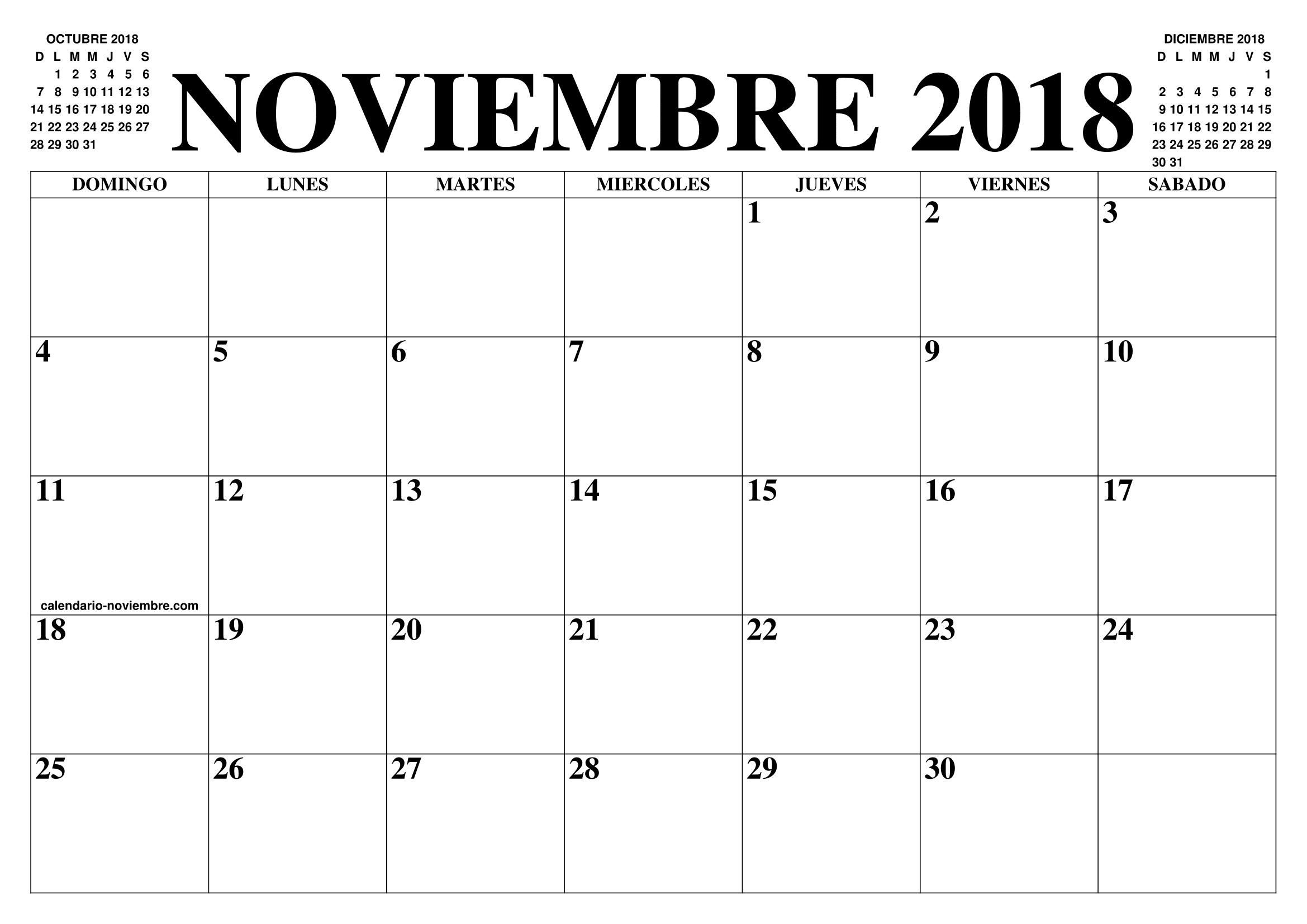 2018 Calendario Noviembre