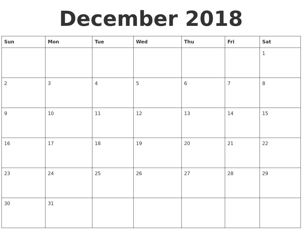 2018 December Calendar Blank