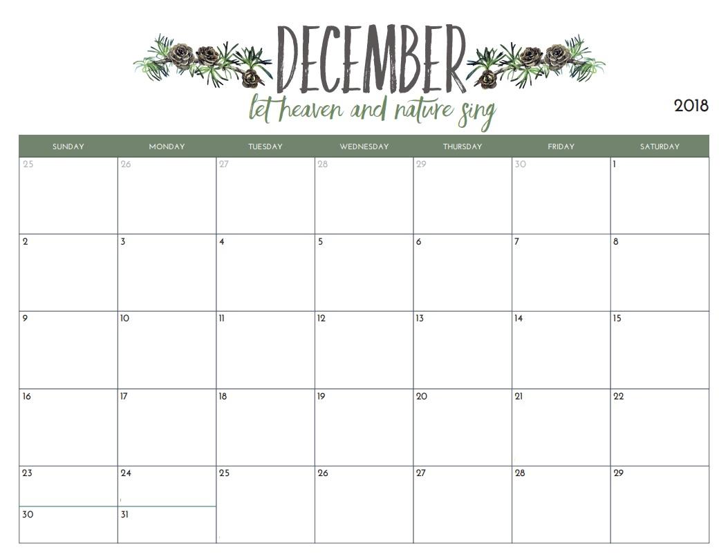 2018 December Calendar Excel