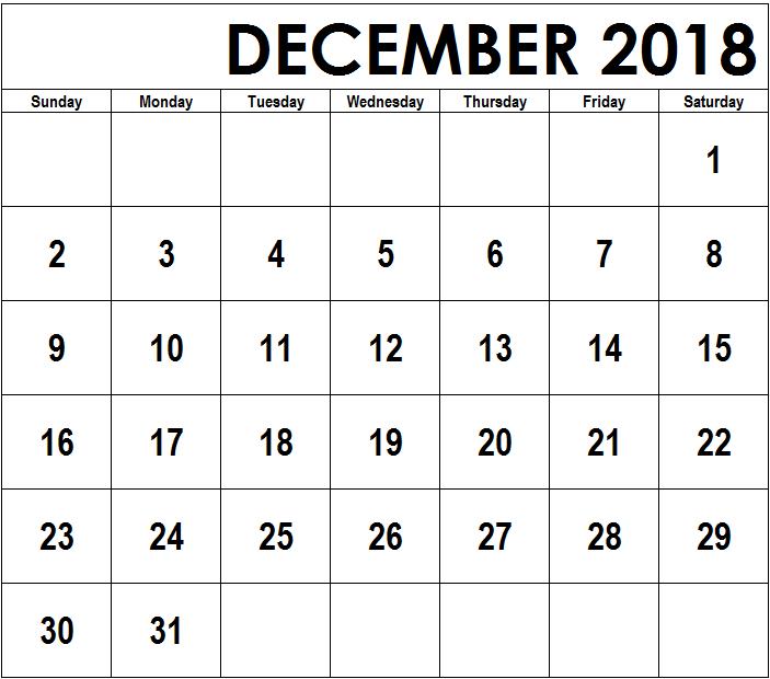 2018 December Calendar Page