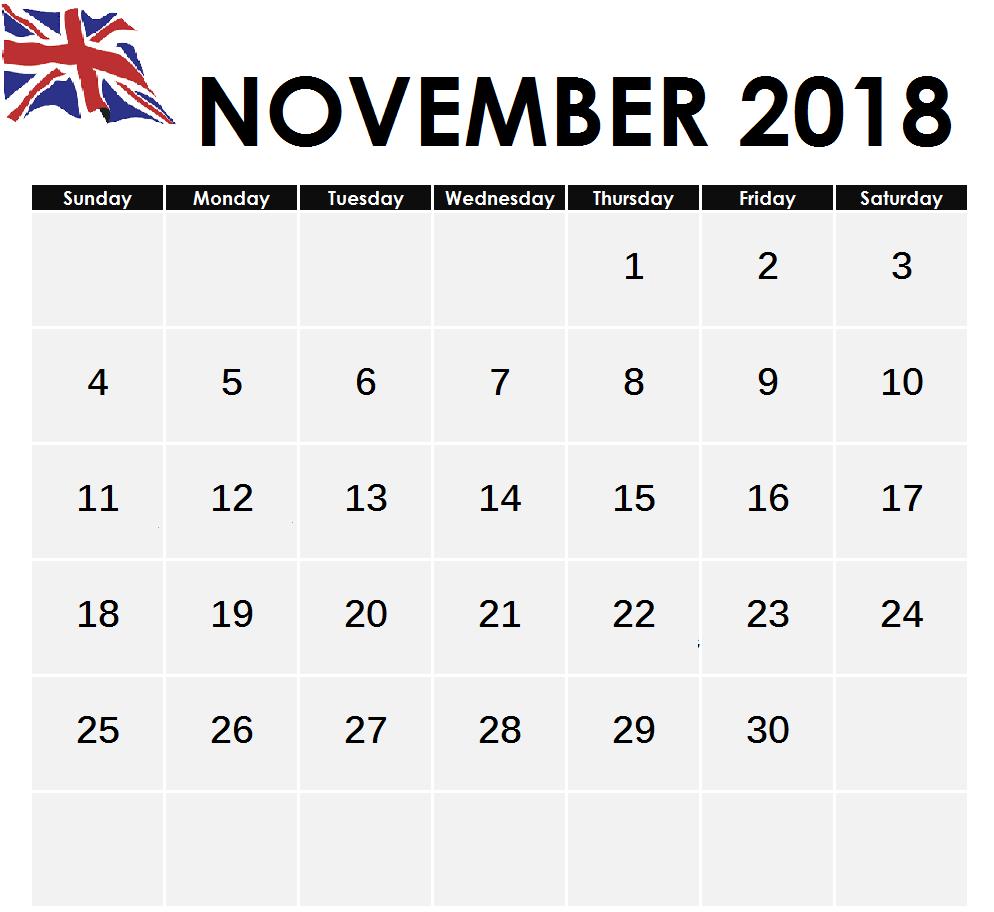2018 November Calendar UK