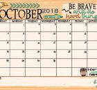 Beautiful October 2018 Calendar Document