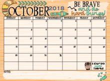 Beautiful October 2018 Calendar Document