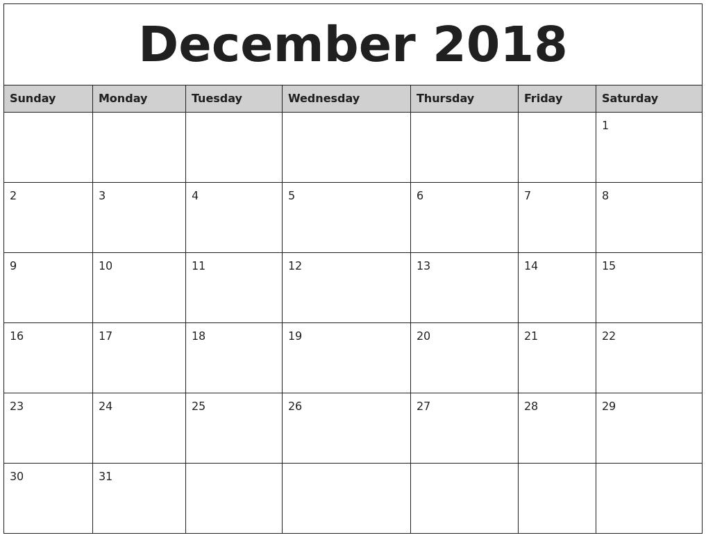 Blank Calendar December 2018 Landscape