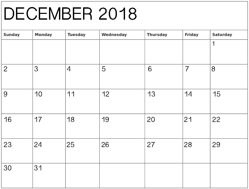 image about Printable Calendar December Pdf referred to as December 2018 Calendar PDF