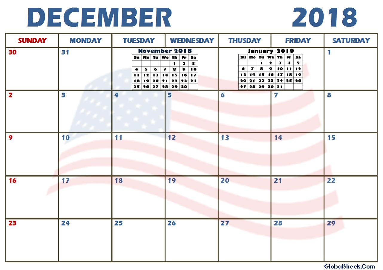 Blank Calendar December 2018 Page