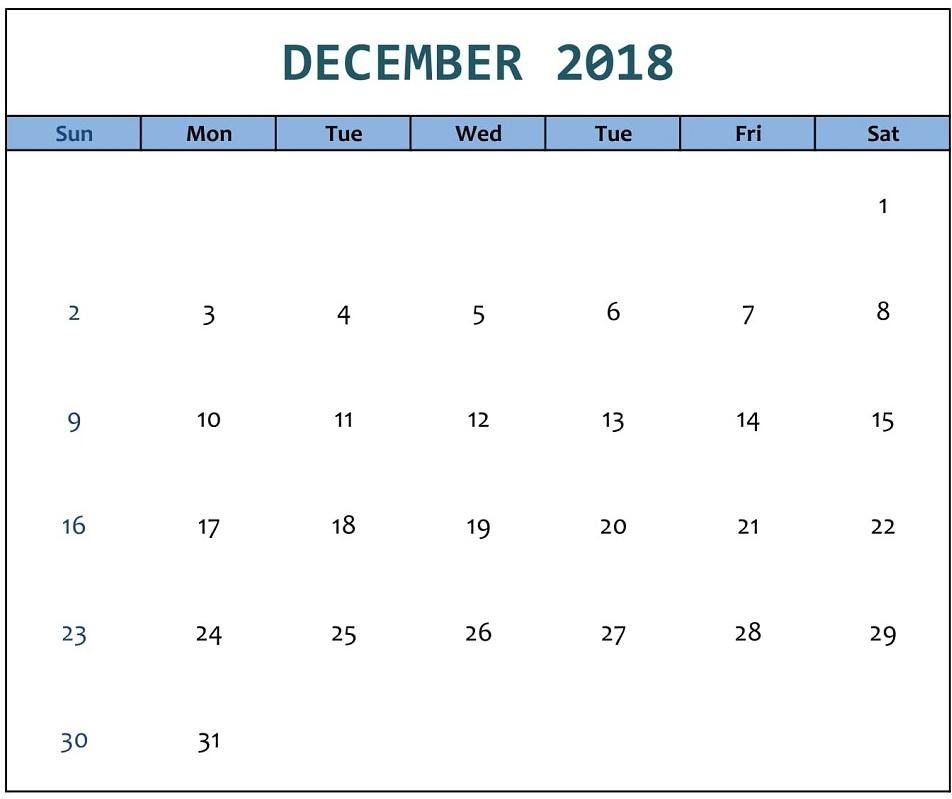 Calendar December 2018 Excel