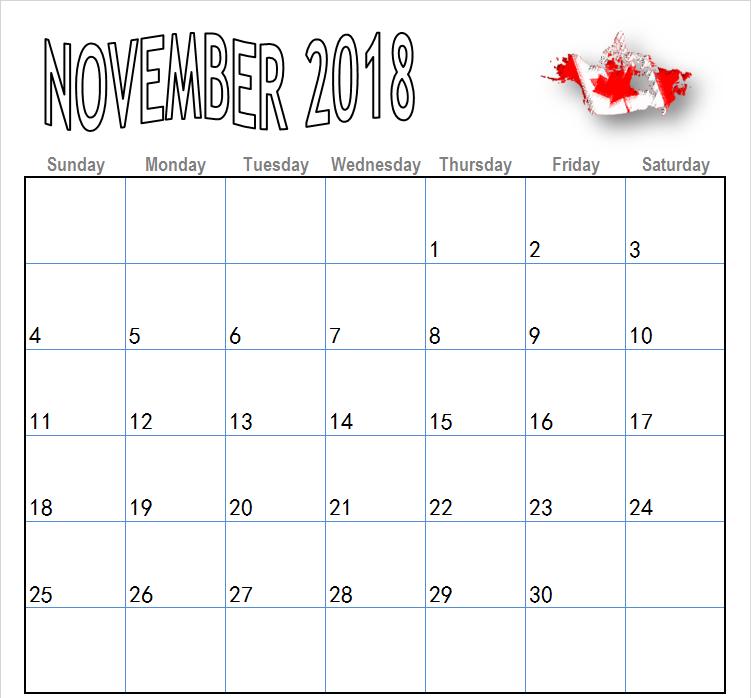 Calendar November 2018 Canada