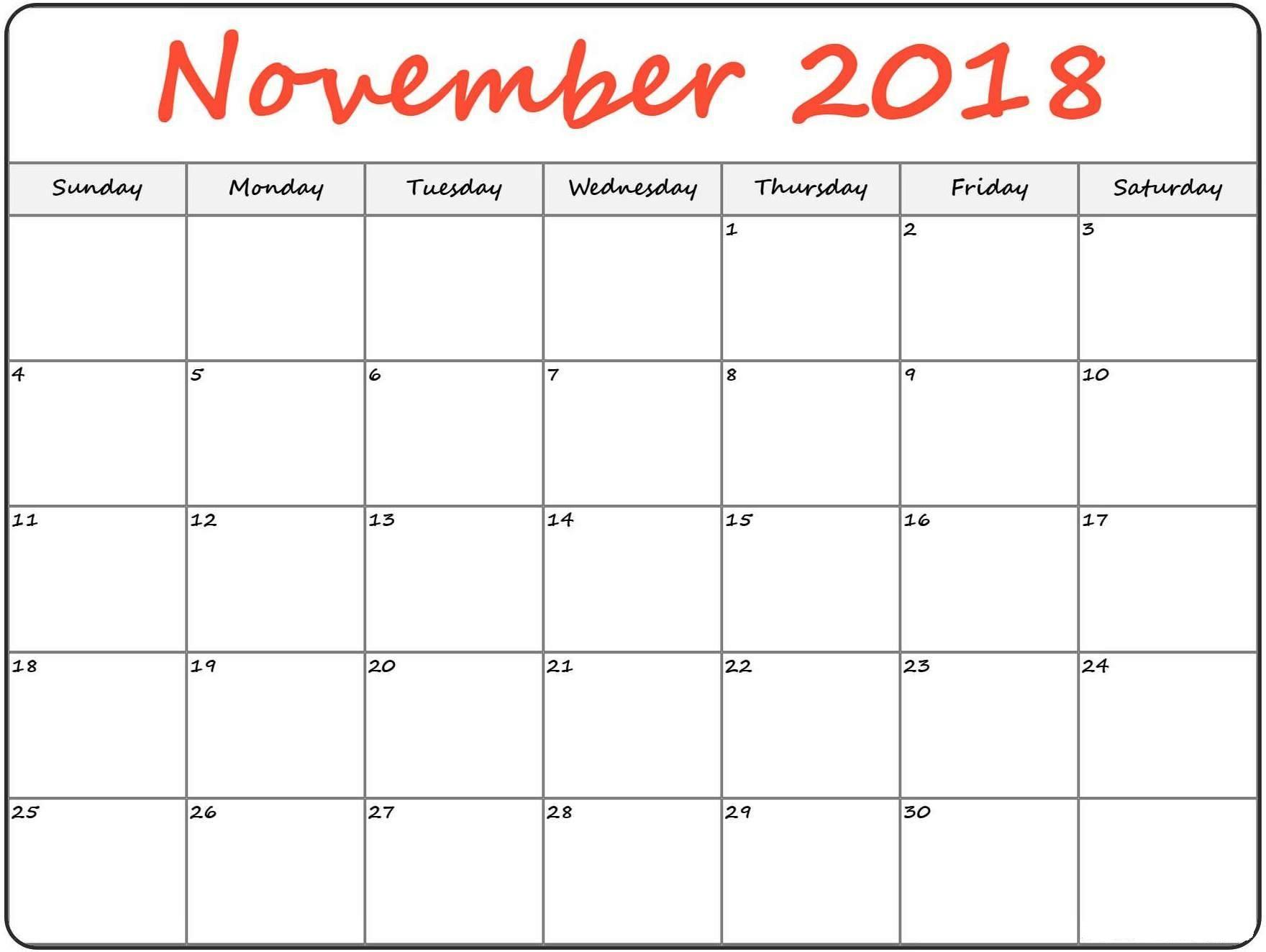 Calendar November 2018 Printable Template