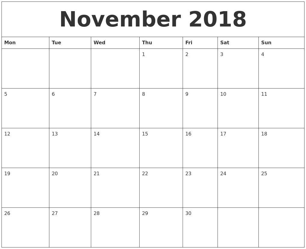 Calendar November 2018 Singapore