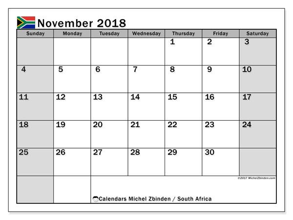 Calendar November 2018 South Africa