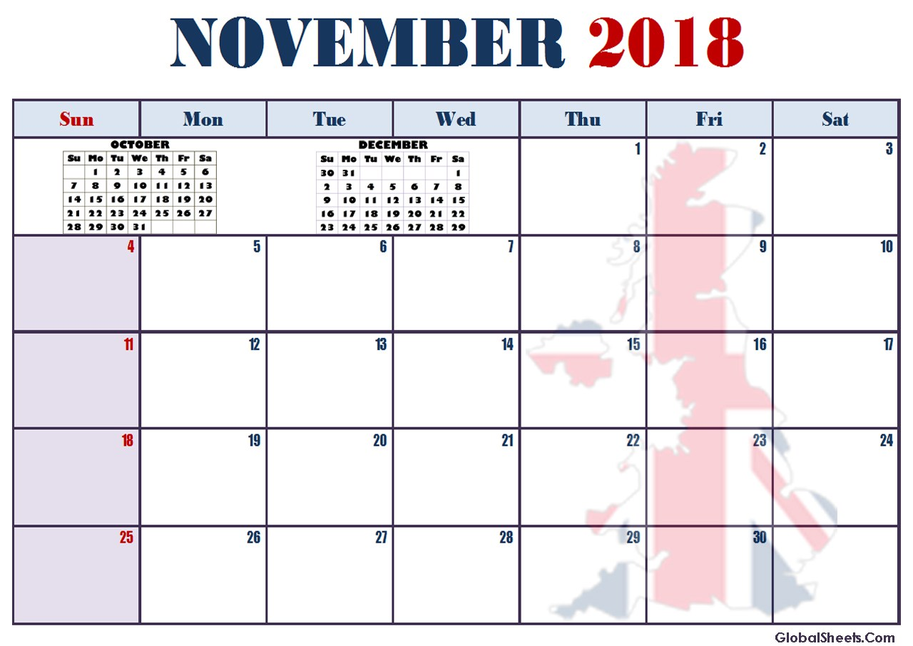 Calendar November 2018 USA
