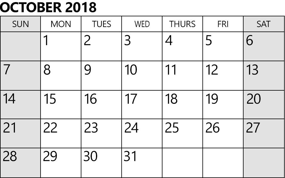 Calendar October 2018 Document