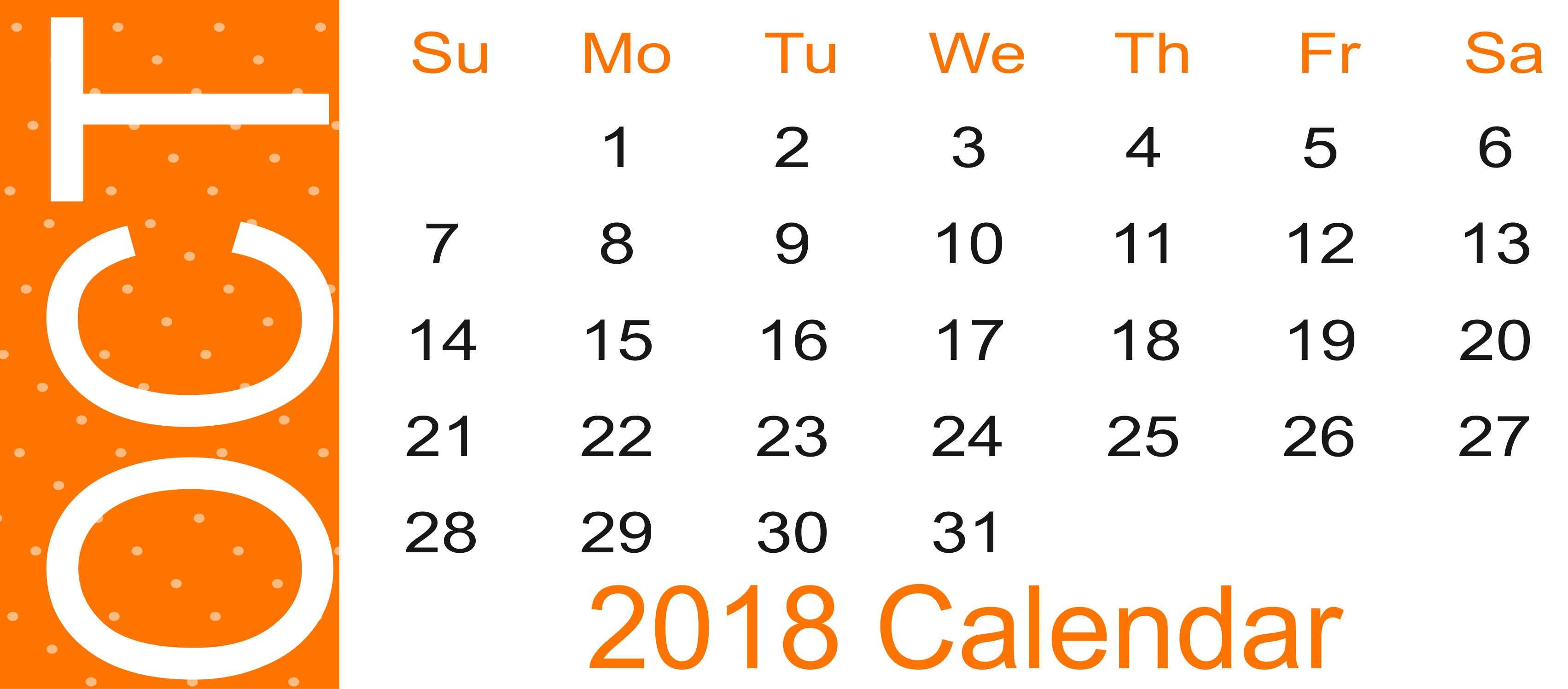 Calendar October 2018 Landscape
