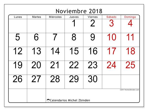 Calendario De Noviembre 2018 Para Imprimir