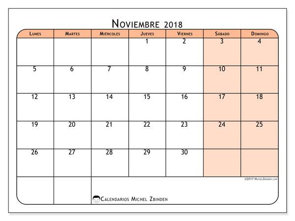 Calendario Noviembre 2018 Chile