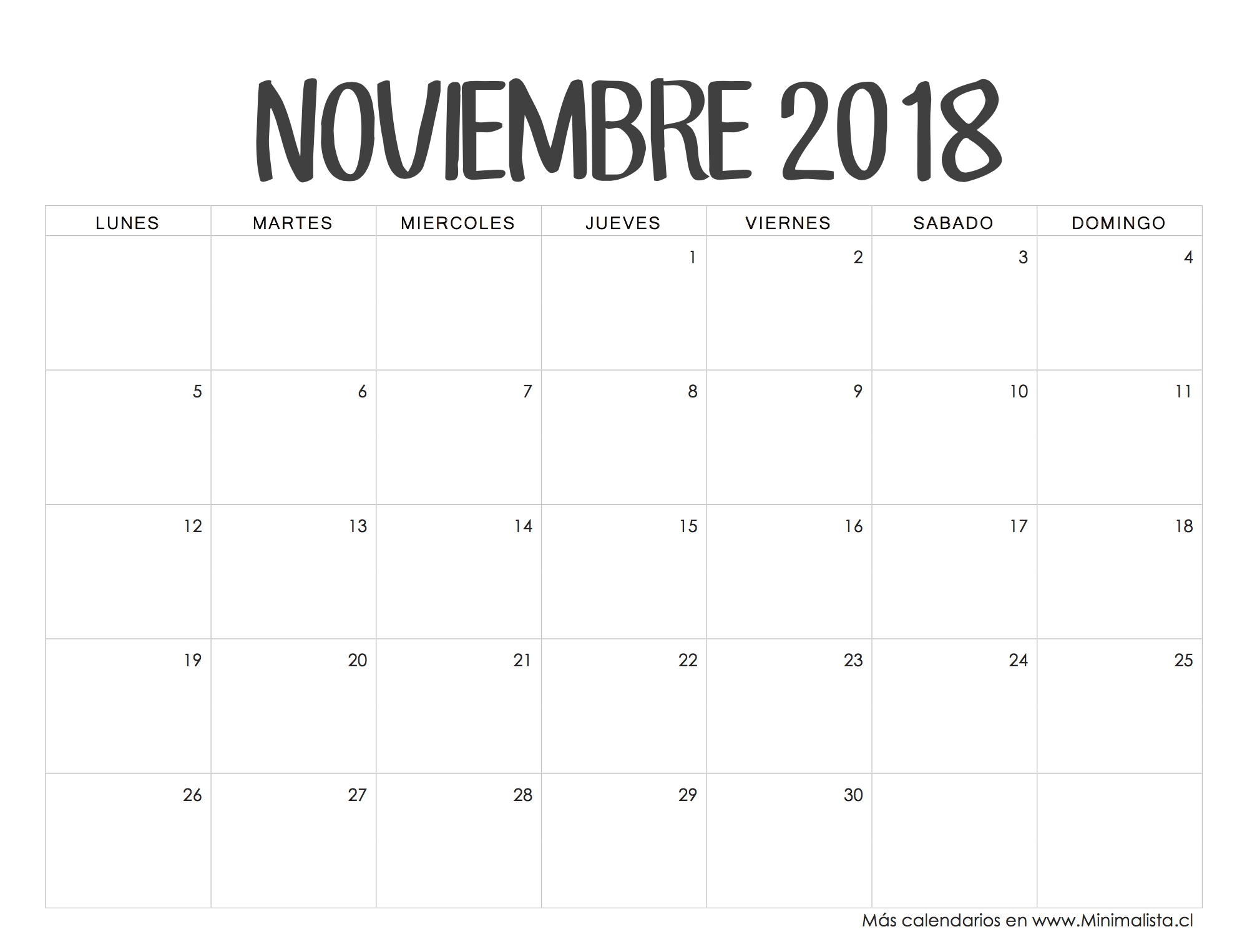Calendario Noviembre 2018 Colombia