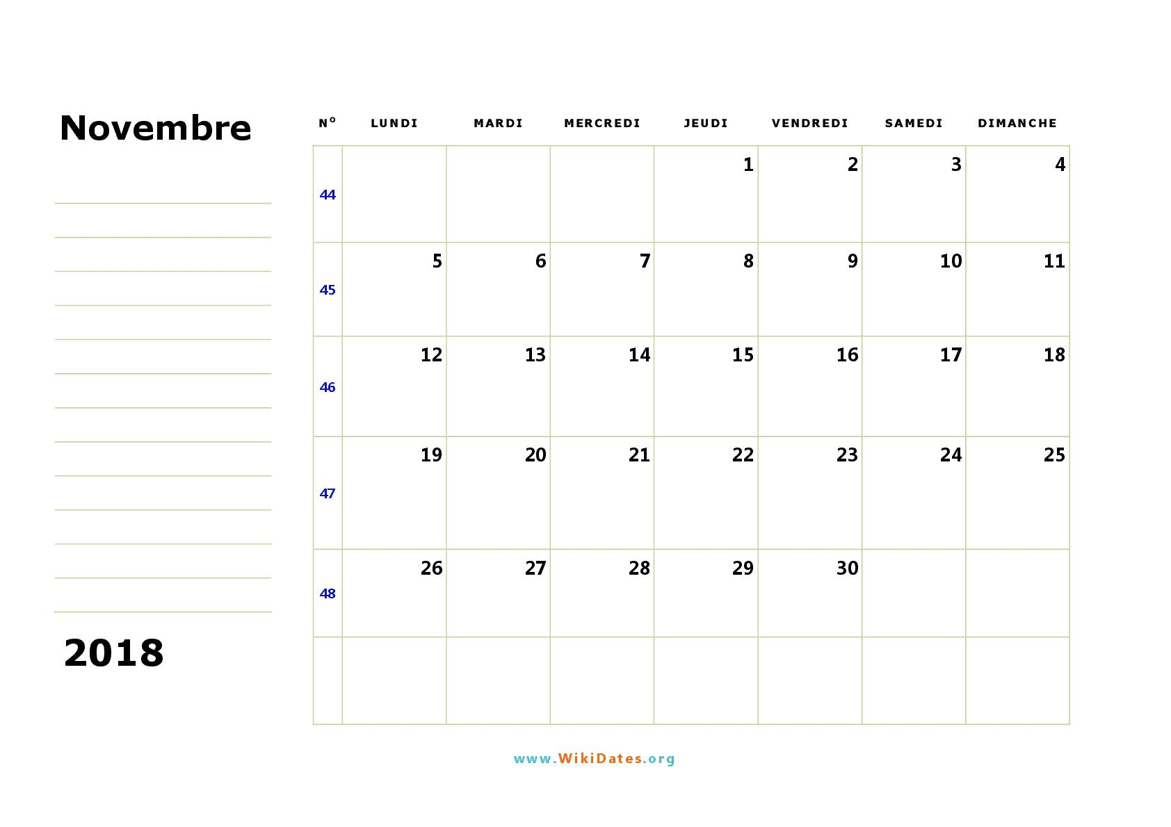 Calendario Noviembre 2018 Con Notas