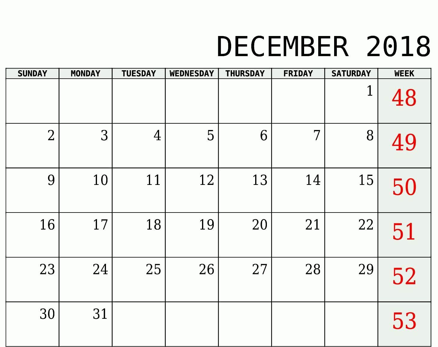 Cute December 2018 Calendar Template