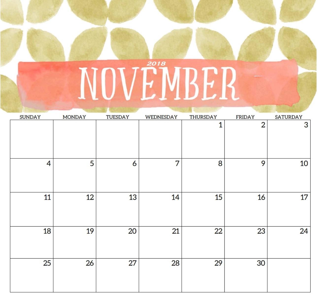 Cute November 2018 Calendar Printable Template