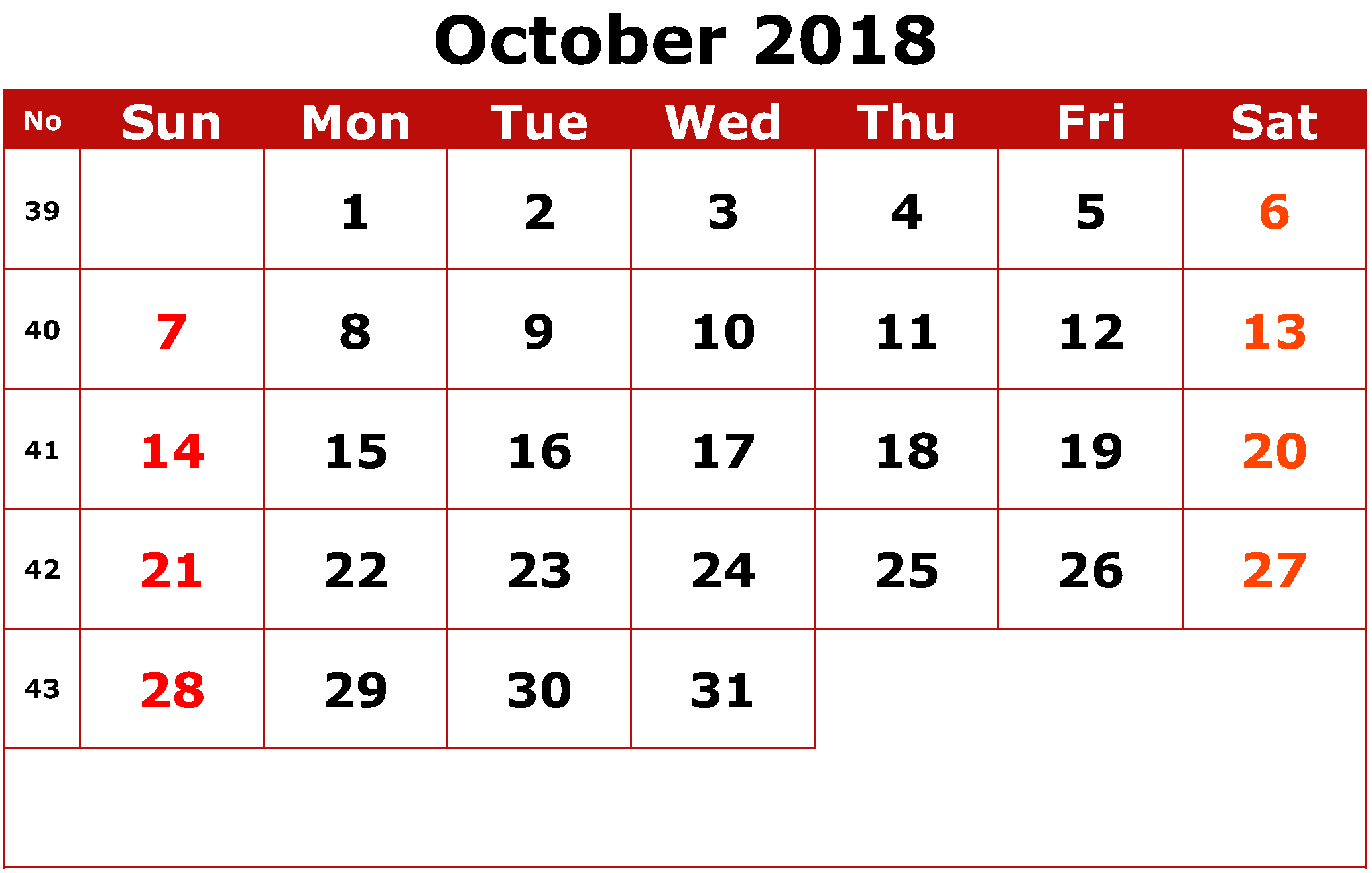 Cute October 2018 Calendar Landscape