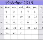Cute October 2018 Calendar Tumblr