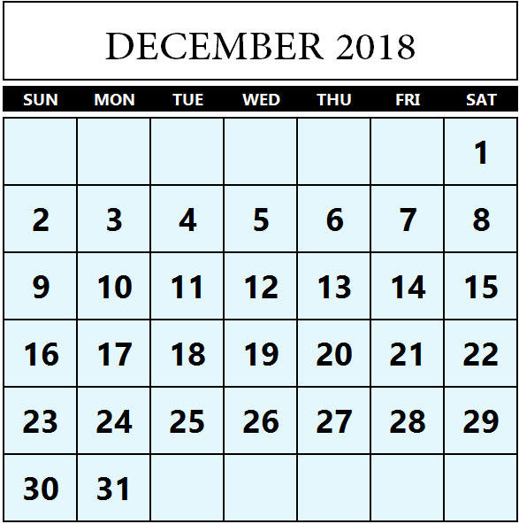 December 2018 Blank Calendar Page