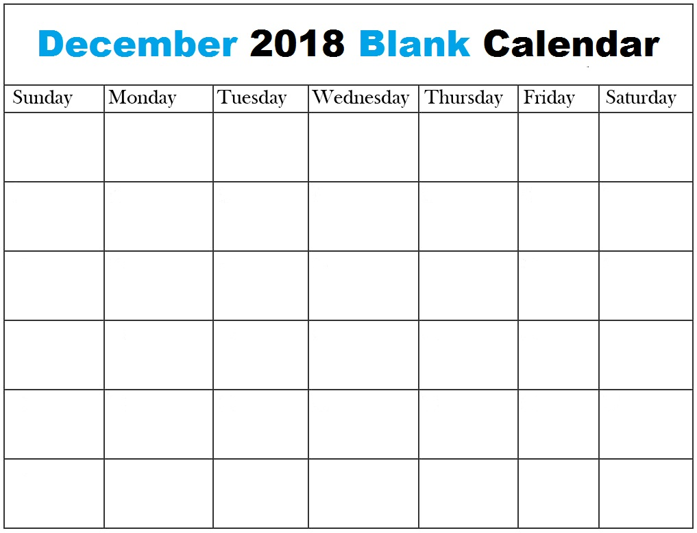 December 2018 Blank Calendar Pages