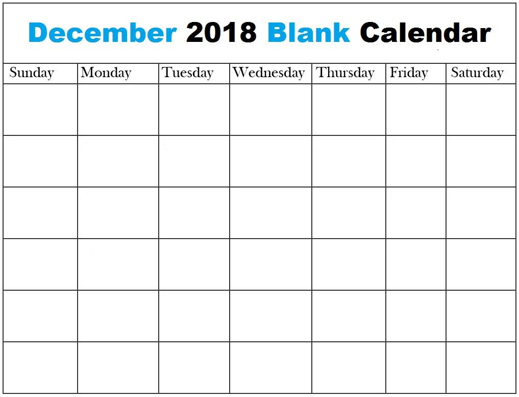 December 2018 Blank Calendar Word