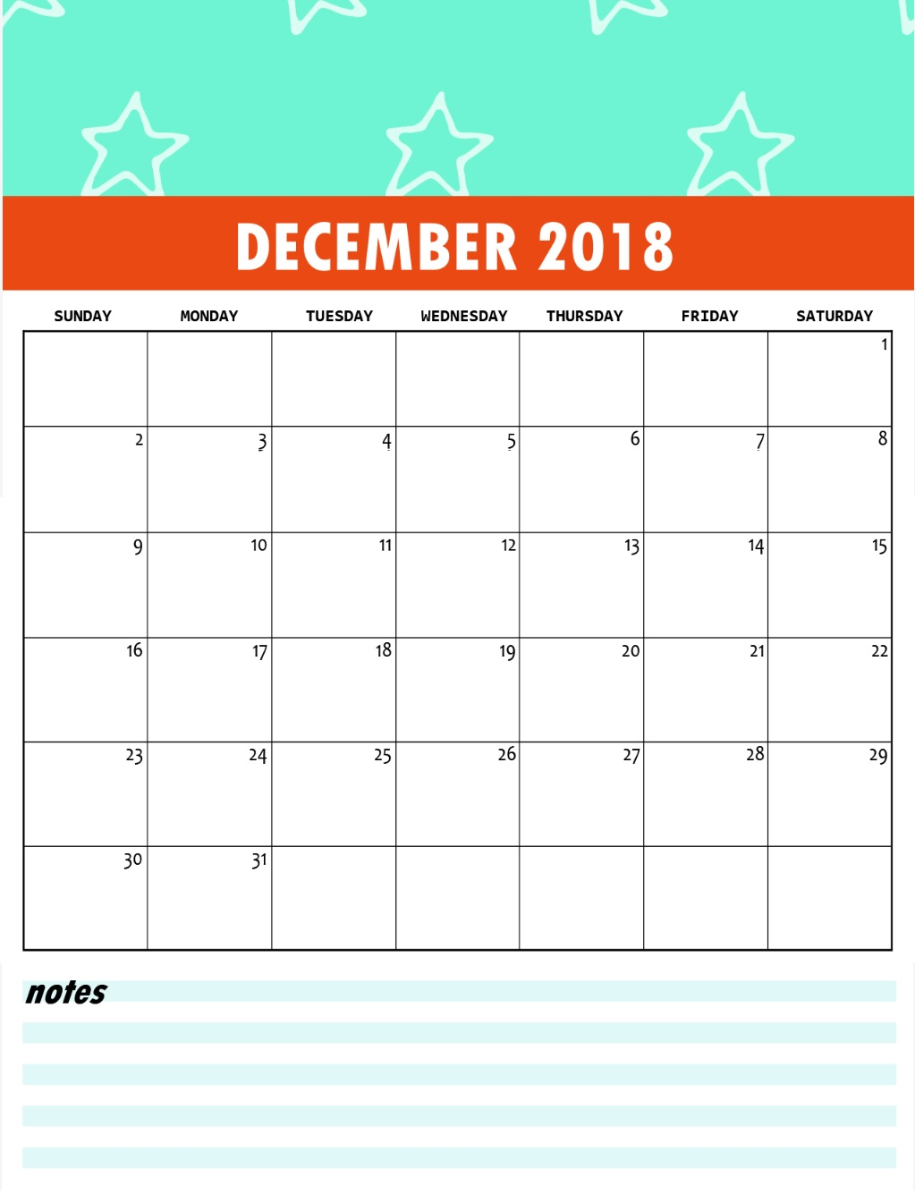 December 2018 Calendar Cute for Kids