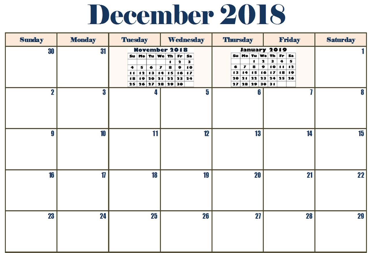December 2018 Calendar Excel Landscape
