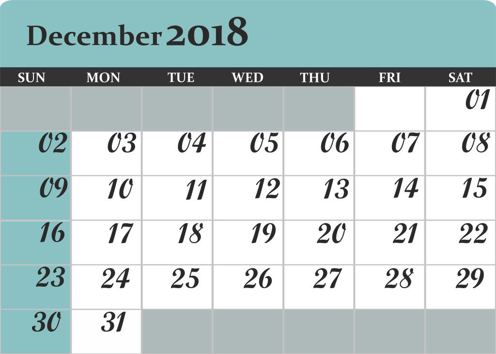 December 2018 Calendar Excel Template