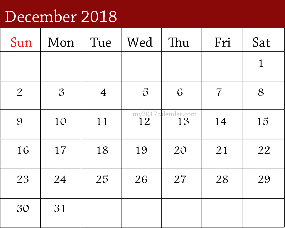 December 2018 Calendar Monthly Template