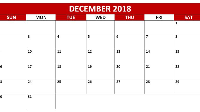 December 2018 Calendar PDF in Landscape Format