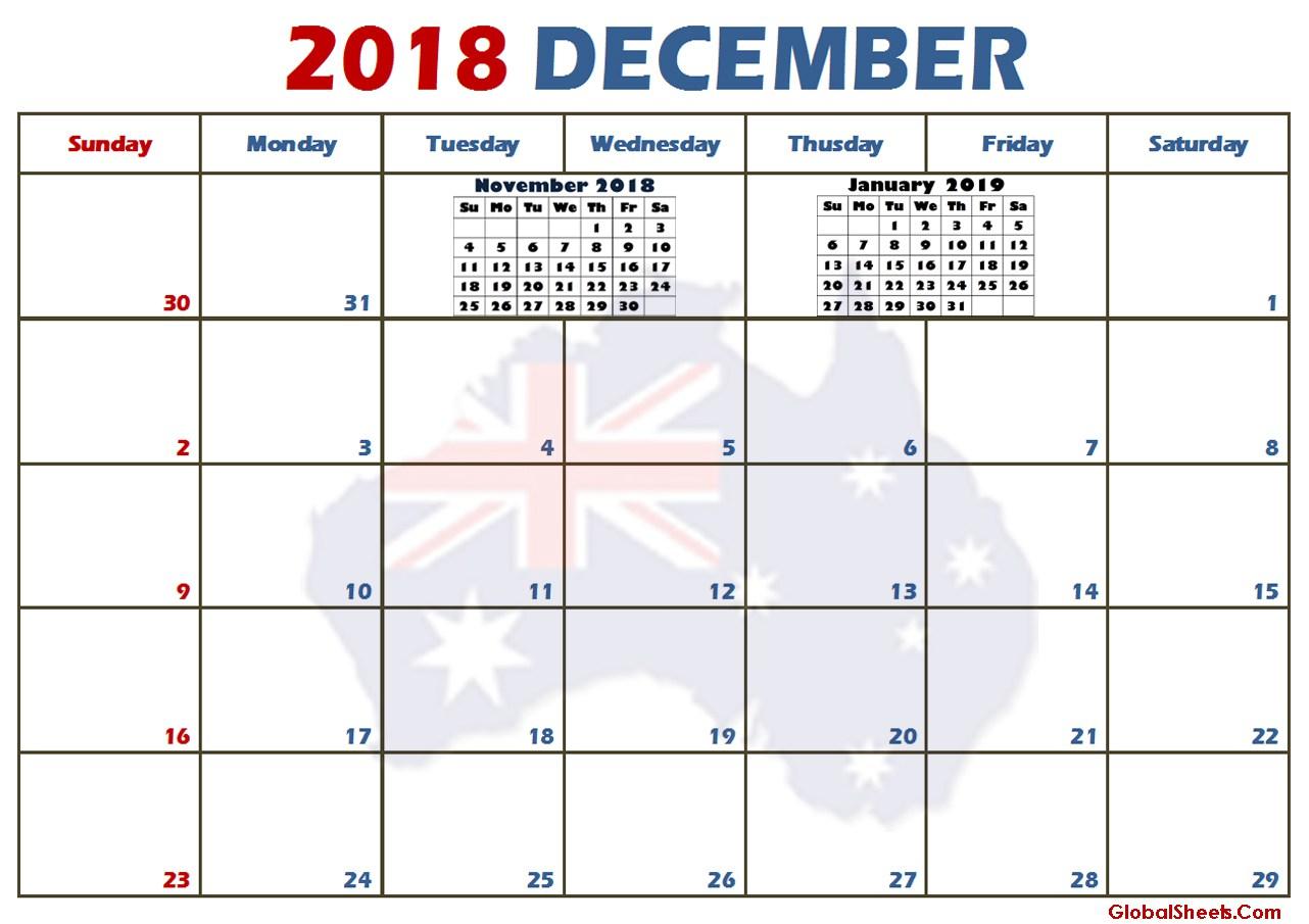 December 2018 Calendar Page Australia