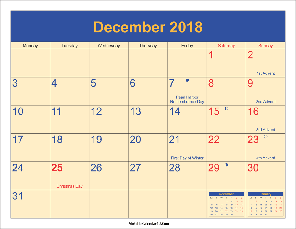 December 2018 Calendar Page With Holidays