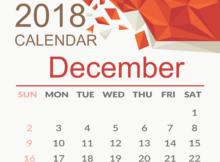December 2018 Calendar Page for Desktop