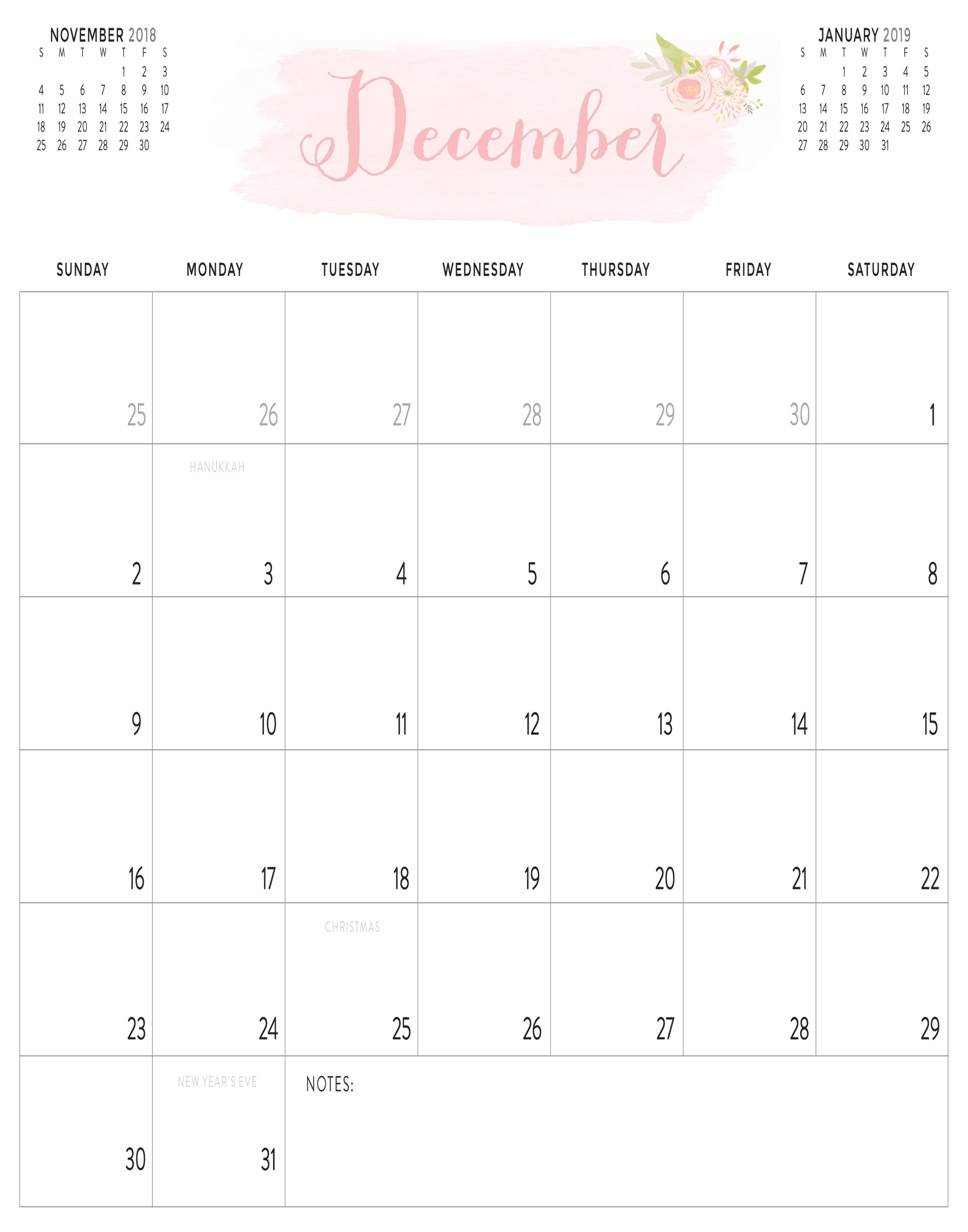 December 2018 Calendar Printable PDF