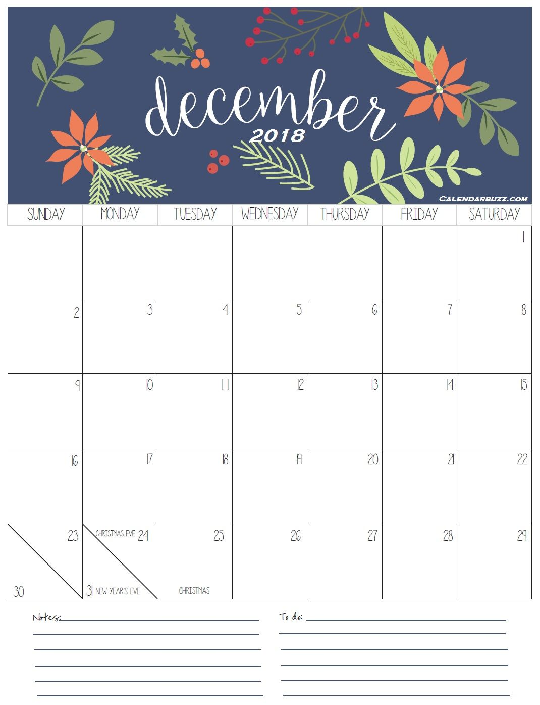 December 2018 Calendar Printable Template