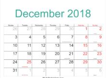 December 2018 Calendar Printable With Holidays