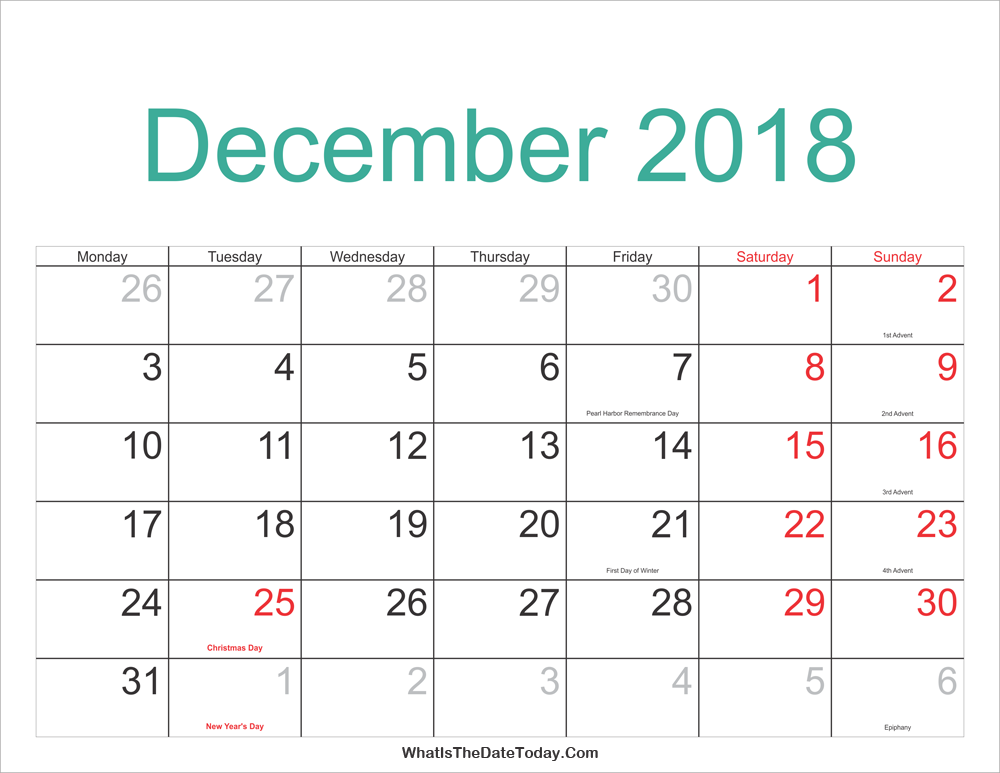 December 2018 Calendar Printable With Holidays