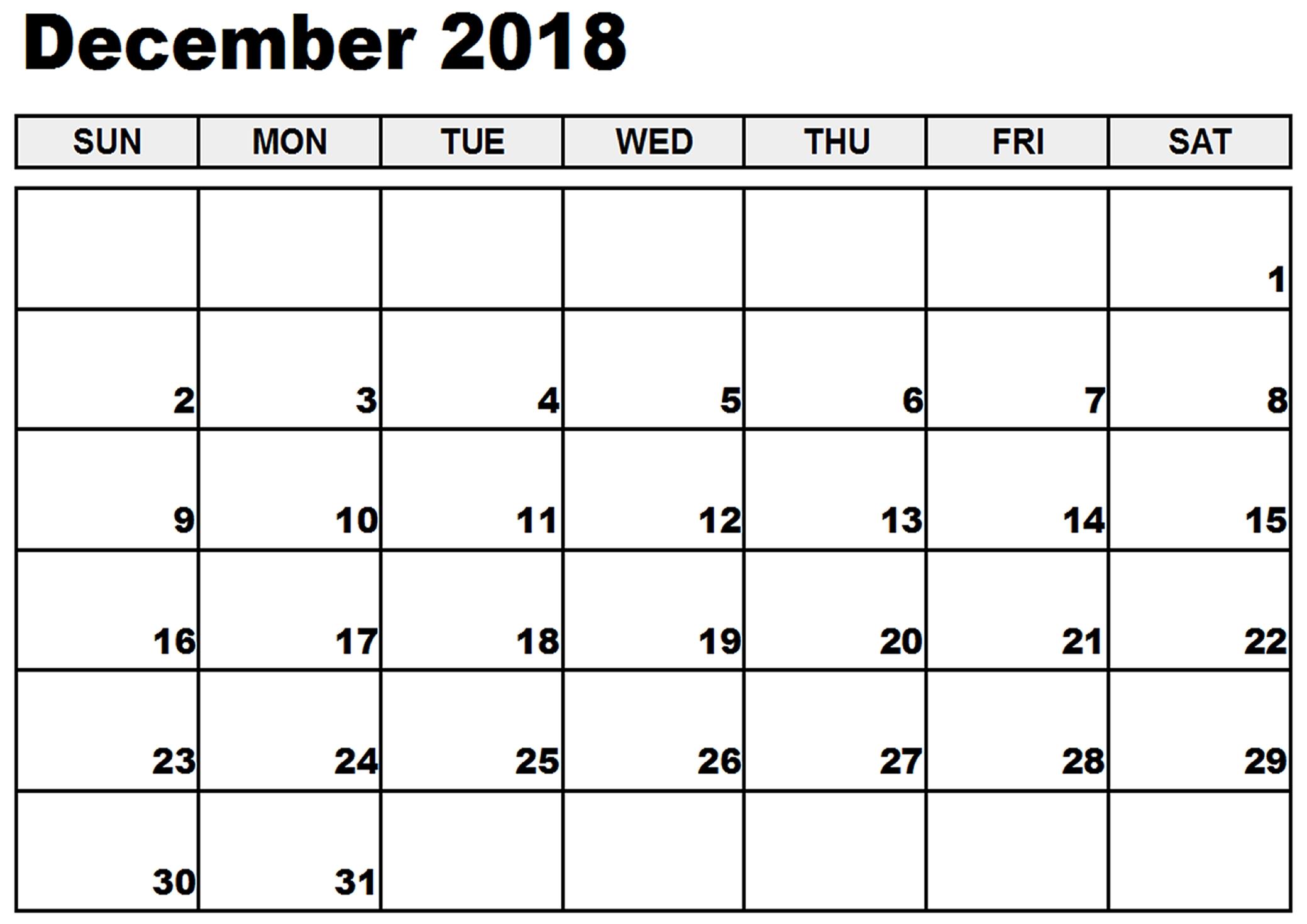 December 2018 Calendar Printable