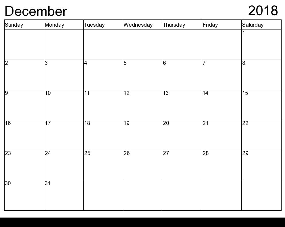 December 2018 Calendar Template