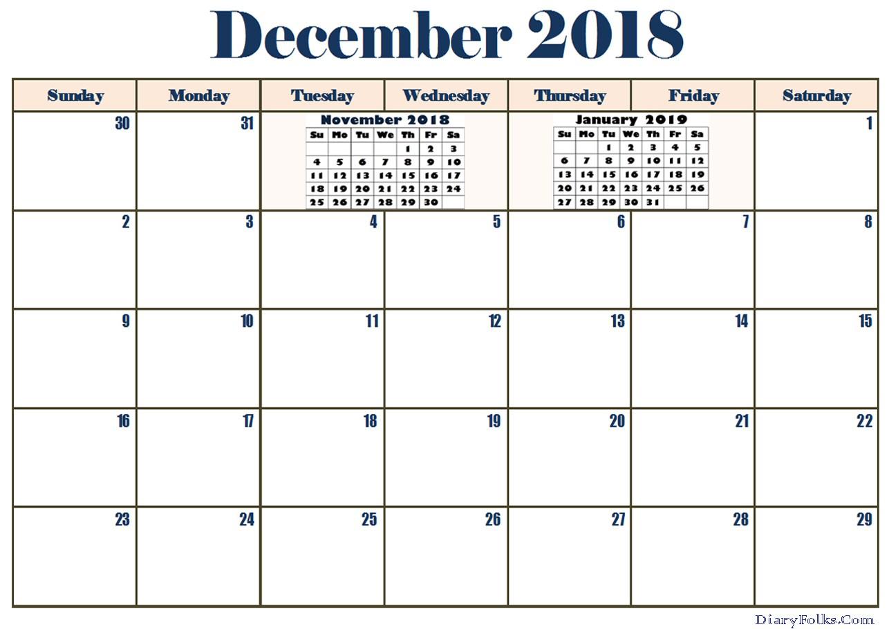 December 2018 Calendar Word Printable