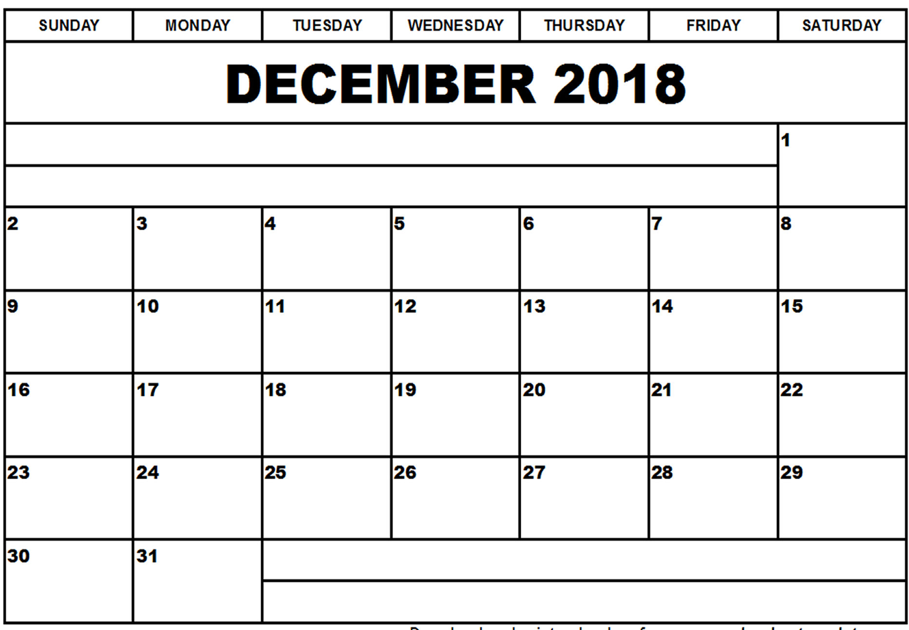 December 2018 Calendar Word Template